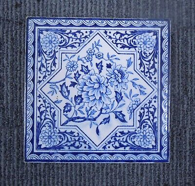 10 x Victorian Blue & White Tiles with Floral Decoration
