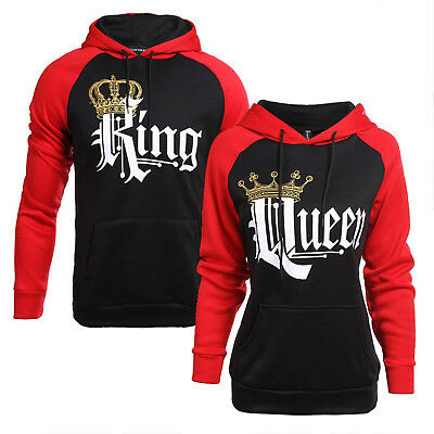 Mens Womens King and Queen Couple Hoodie Sweatshirt Jumper Pullover Blouse Tops