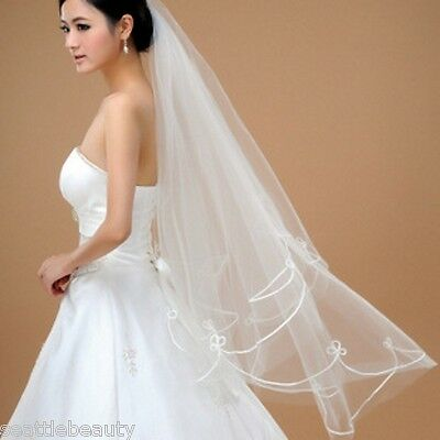 Pretty 1T long bridal wedding veil white 1.5m elbow length lace edge US Seller
