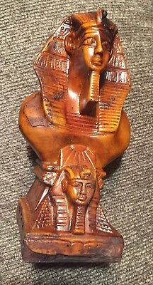 KING TUT Egyptian Pharaoh King Tut Bust RARE STATUE TWO FACES IN ONE STATUE