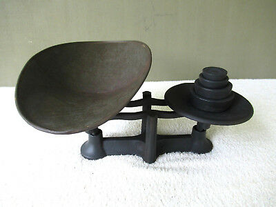 Antique Balance Scale Primitive General Store Cast Iron, 4 Weights, Tin Tray