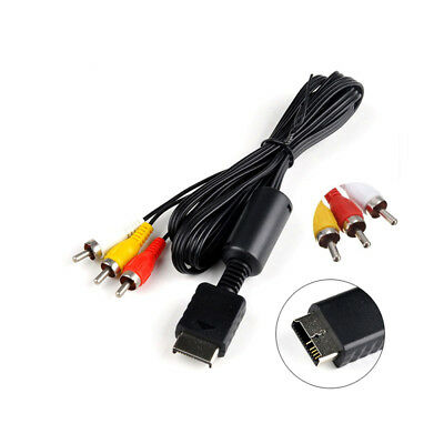 Black Audio Video AV Cable For Sony Playstation PS1 PS2 PS3 Composite RCA Cord