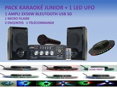 KARAOKÉ JUNIOR USB SD BLUETOOTH  2 x 50W AMPLI ENCEINTES MICRO FILAIRE +LED UFO