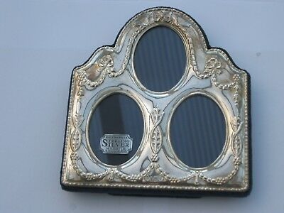 Carrs hallmarked sterling silver triple photo frame