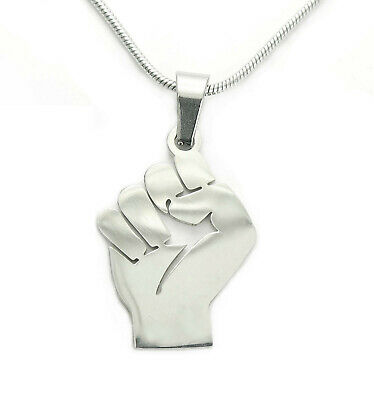 Raised Fist Necklace, Solidarity Resitance Feminist Sign Stainless Charm Pendant
