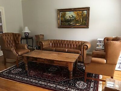 English Vintage Leather Chesterfield 5 Piece Set- Couch,2 Wing Chairs, 2 Ottoman
