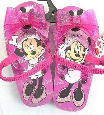 Disney Minnie Mouse Sandals Toddler Girls Size Small 5-6 Pink Flip Flops NEW