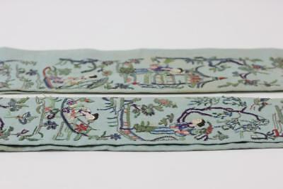 Pair Of Old Chinese Silk Embroidered Sleeve Panels Figures Trees & Flowers