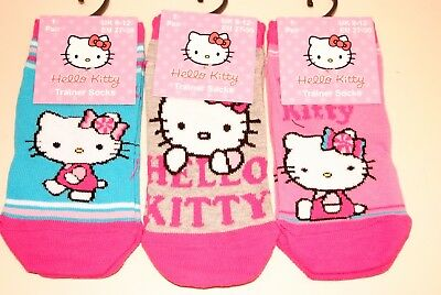 Girls Ladies 3 Pack Hello Kitty Socks 4 Sizes New