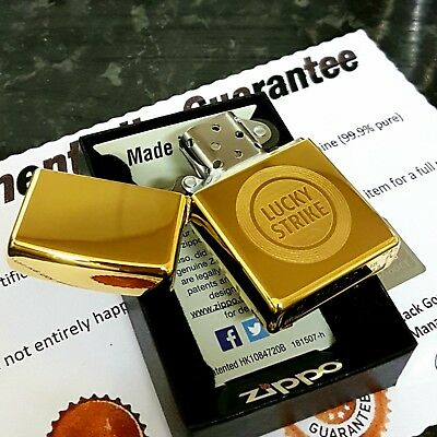 24ct Gold Plated Metal Petrol Lucky Strike Zippo Lighter Flint Wick Boxed 24k