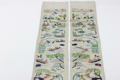 Pair Of Old Chinese Silk Embroidered Sleeve Panels Figures Boats Trees & Flowers