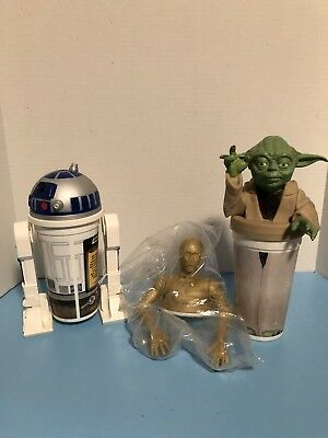 Star Wars Yoda Cup Topper Lid Taco Bell/KFC R2D2 C3PO LOT OF 3 Characters