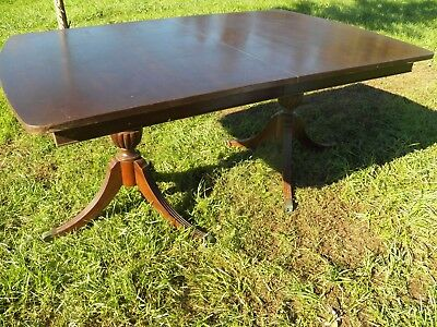 """Antique 100"""" dining room table, kitchen large table 4 leaves extending mahogany"""