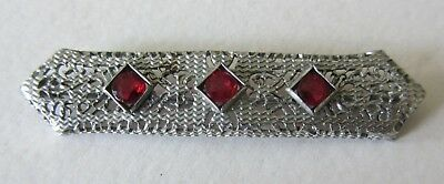 Nice Vintage & Unique Art Deco Era Silver Filigree Pin With Three (3) Red Stones