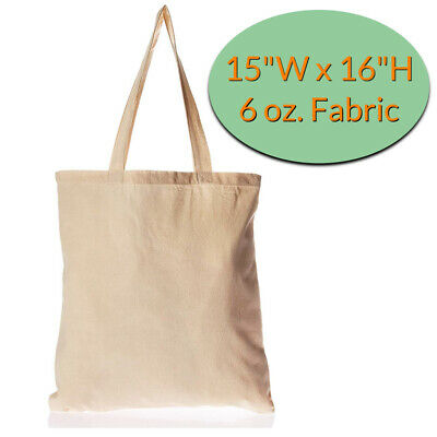 Canvas Tote Bags Wholesale - 12 Pack - Plain Cotton Tote Bags in Bulk Blank Bags