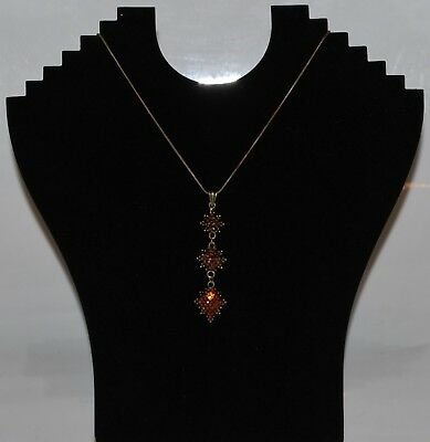 Costume Jewellery: Necklace: 7cm Drop Pendant, 3 flower shapes of Amber Beads i9