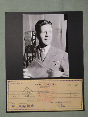 Rudy Vallee Vintage Signed Check Autographed Endoresed By Camilla Holiday