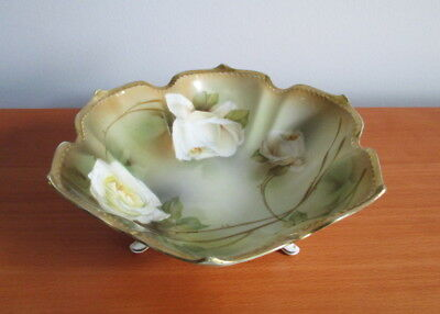 RS Germany Footed Bowl Yellow Rose Gold Trim Porcelain Antique Tillowitz German