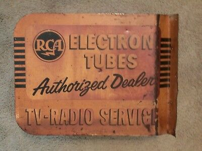 Vintage 1950`s RCA TV Radio Service Double Sided Metal Flange Advertising Sign