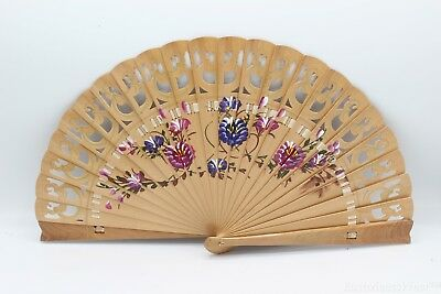 Quality Flamenco Vintage 2 Side Hand Painted Dance Wood Hand Fan Original
