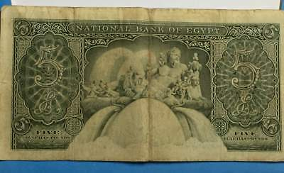 1958 Egypt Five Pounds National Bank Of Egypt ***xf***  Banknote