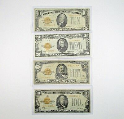 Series of 1928 $10, $20, $50, & $100 Gold Certificate Bills Bank Notes VF - XF
