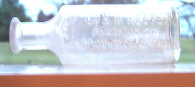 """Collectible Medicine Bottle """"dr.a.h. Keefer Pharmagist Westerville,ohio"""""""