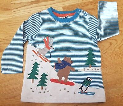 Immaculate John Lewis 3-6 months baby top Christmas winter snow blue applique