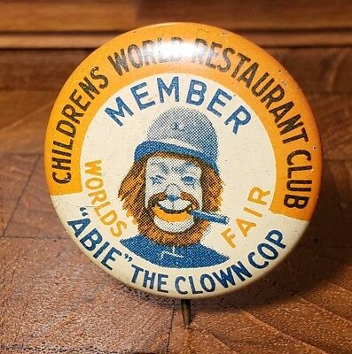 "Original 1939 New York Worlds Fair ""Abbie the Clown Cop"" Membership Pin"