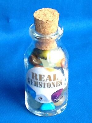 Decorative Corked Glass Jar Containing Real Polished Gemstones