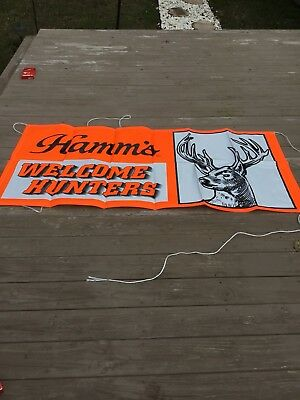"""HAMM'S Beer """"Welcome Hunters"""" 33"""" x 70"""" Banner Sign - Bar - Man Cave - Cabin"""