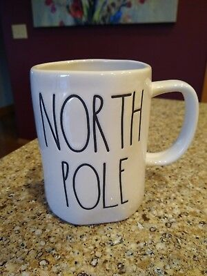 "New! Rae Dunn ""NORTH POLE"" Christmas Holiday Cup Mug Large Letter LL Coffee"