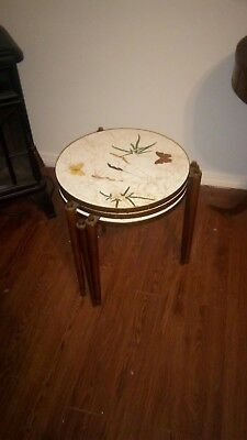 Vintage mid century Danish modern formica butterfly stacking nesting tables