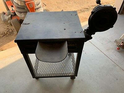 Vintage Blacksmith Coal Box Forge With Champion Hand Blower.