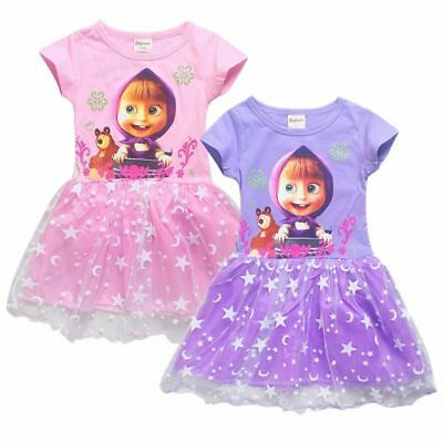 `Masha and the Bear Girls Princess Summer Top Tutu Dress Cartoon Costume Gift