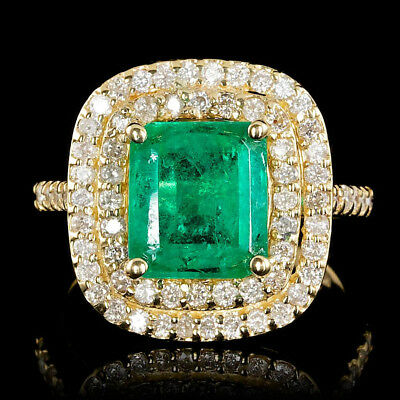 Certified Colombian Emerald 3.10cttw 14KT Yellow Gold w/ 1.00cttw Diamond Ring