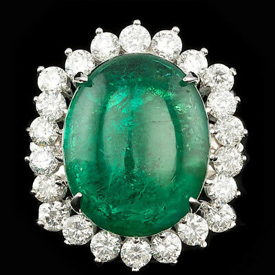 Certified  10.55cttw Emerald 1.80cttw Diamond 14KT White Gold Ring
