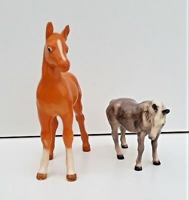 Vintage Retired Beswick Palomino Horse 'Arab Foal' # 1407 Plus Another Grey Foal