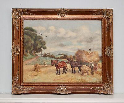 A Charming Antique Harvest Scene Oil Painting, Impressive Gilt Frame