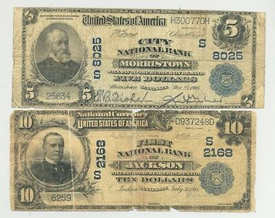 rare Series 1902 National Banknotes from Morristown and Jackson, Tennessee