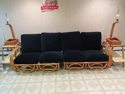 Vintage 1950's Rattan Couch And Step Up End Tables And Lamps