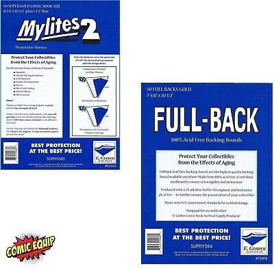 50 Mylites2 GOLD 2 mil Mylar Bags & Full Back 42pt Boards 800M2/758FB E. Gerber