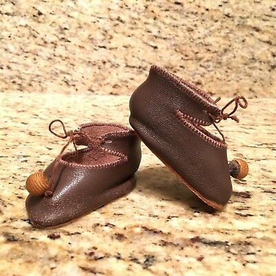 """Antique Vintage Brown Leather DOLL SHOES French German Jumeau or similar 2 1/2"""""""