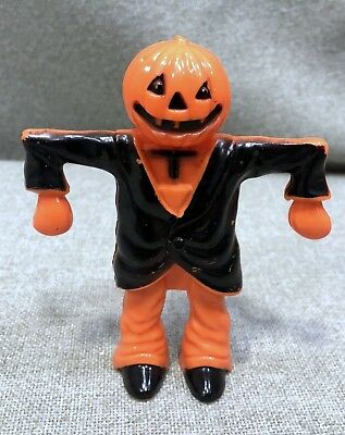 Vintage Small Plastic Halloween Pumpkin Head/Scarecrow Candy Container