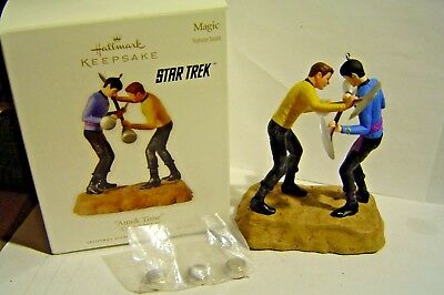 "Hallmark Keepsake Star Trek "" AMOK TIME "" Ornament Magic sound KIRK & Mr Spock"