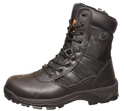 Mens Combat Police Army Cadet Tactical Zip Steel Toe Cap Safety Work Boots Shoes