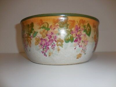 "vintage porcelain jardiniere with fushia flowers 4 3/4"" tall x 10 1/2"" across to"