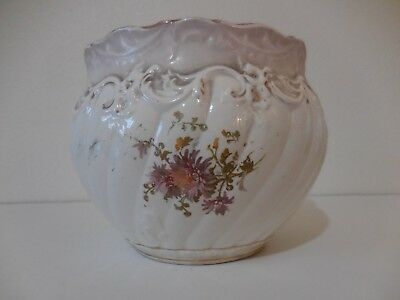 "antique porcelain jardiniere large 8"" high 10"""
