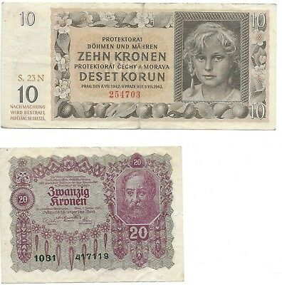 Austria, 1 Lot Of 2 Notes Consisting Of A, 10 & 20 Kronen Banknotes