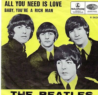 """Cover, Belgien, THE BEATLES, """" All you need is Love / Baby, you´re a rich man"""""""